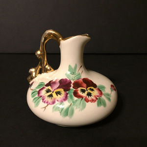 Other - Small Vintage Floral Golden Vase